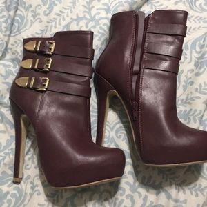 Maroon stiletto booties